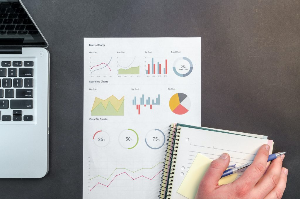 Shows image of charts and graphs for business consulting page